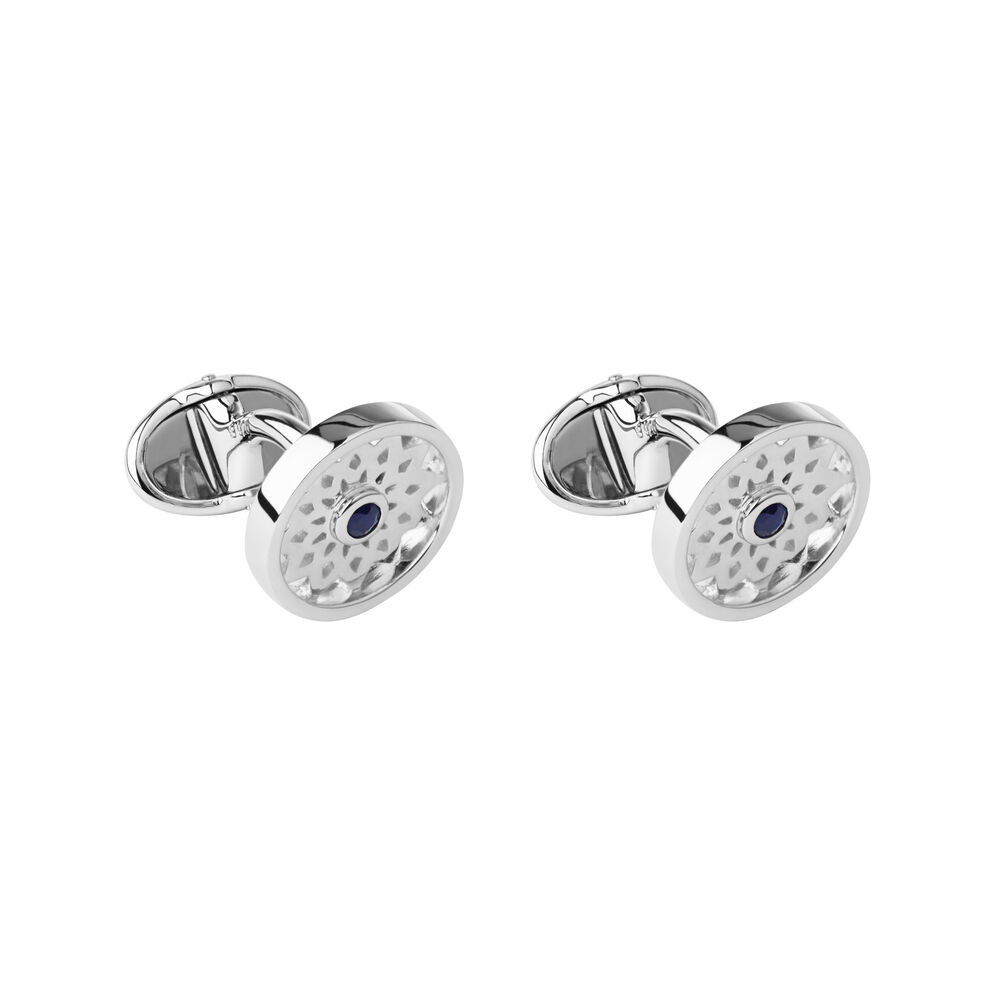 Timeless Sterling Silver & Black Sapphire Cufflinks, , hires