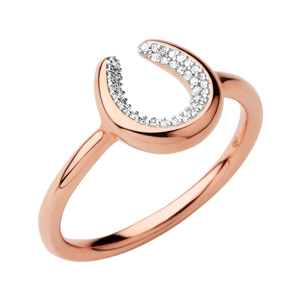 Ascot Diamond Essentials 18kt Rose Gold Vermeil Horseshoe Ring, , hires