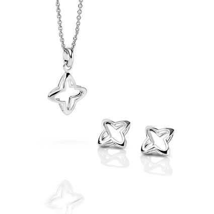 Splendour Sterling Silver Open Four-Point Star Necklace & Earring Set, , hires