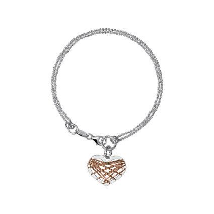 Dream Catcher Sterling Silver & 18kt Rose Gold Vermeil Heart Bracelet, , hires