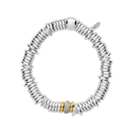 Sweetie Sterling Silver & Diamond Pave Yellow Gold Bead Bracelet, , hires