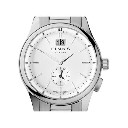 Regent Mens Stainless Steel Bracelet Watch, , hires