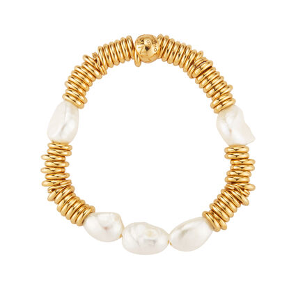 Sweetie 18kt Yellow Gold Vermeil White Pearl Bracelet, , hires