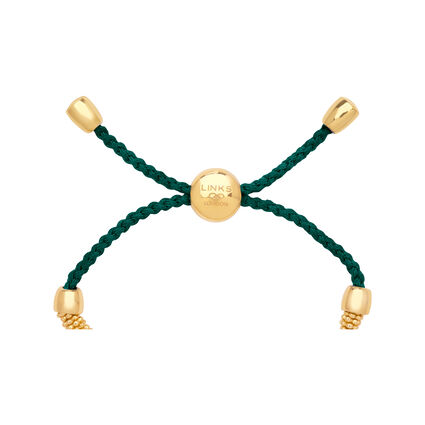 Effervescence XS Yellow Gold Vermeil & Forest Green Cord Bracelet, , hires