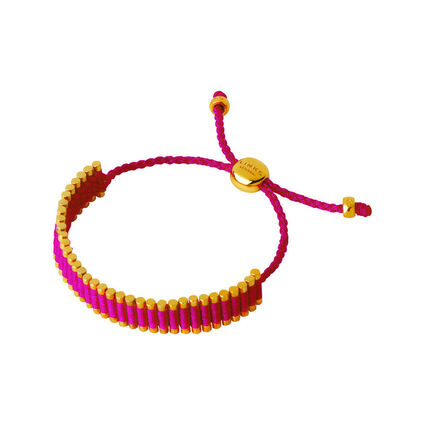 18kt Yellow Gold Vermeil & Hot Pink Cord Friendship Bracelet, , hires