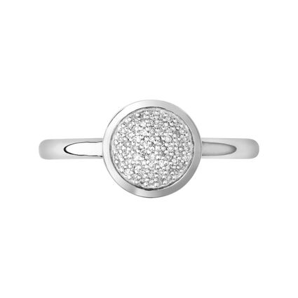 Diamond Essentials Sterling Silver & Pave Round Ring, , hires
