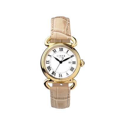 Driver Round Womens Gold Plate Tan Leather Watch, , hires
