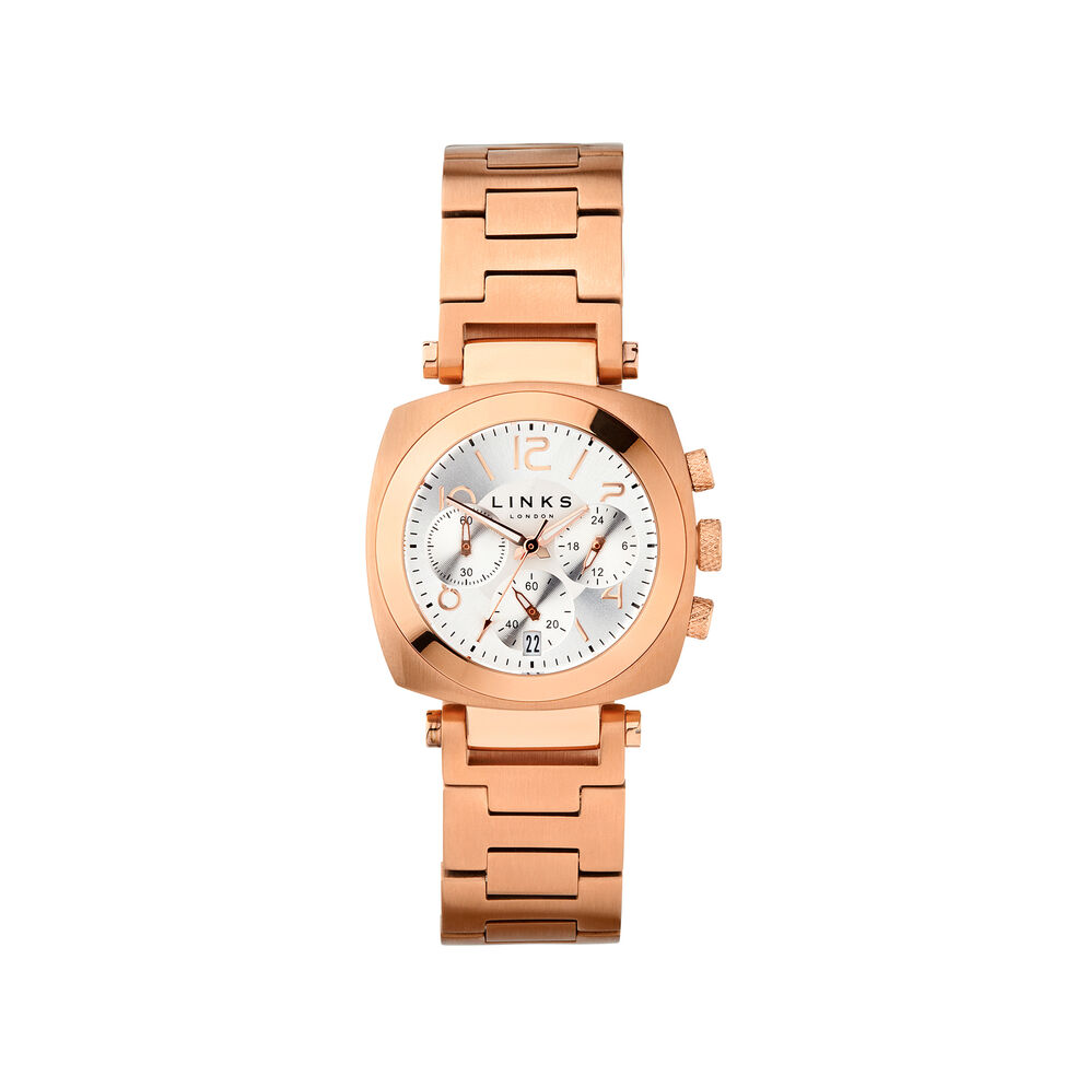 Brompton Womens Rose Gold Plate Chronograph Bracelet Watch, , hires