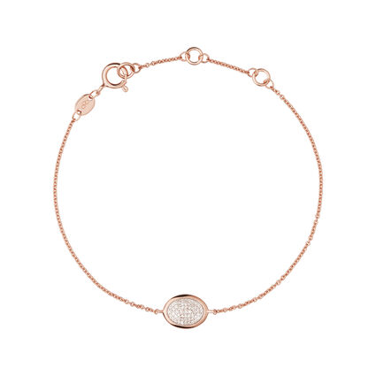 Diamond Essentials 18kt Rose Gold Vermeil & Pave Oval Bracelet, , hires