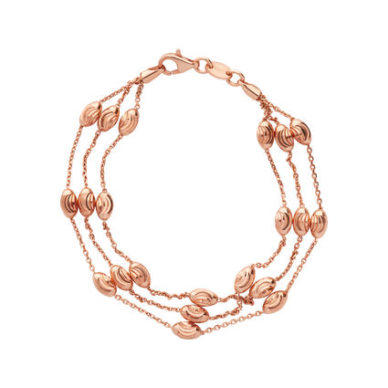 Essentials 18kt Rose Gold Vermeil Beaded Chain 3 Row Bracelet - Small, , hires