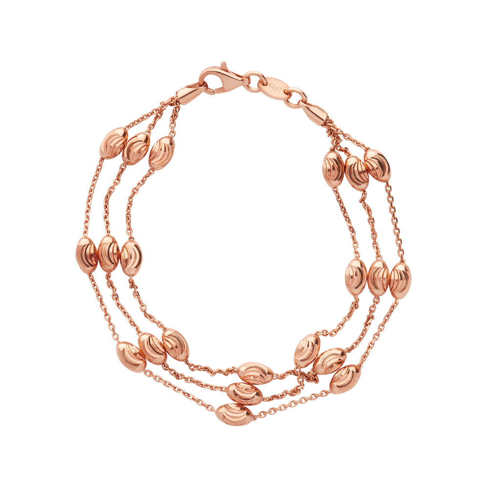 Essentials 18kt Rose Gold Vermeil Beaded Chain 3 Row Bracelet - Medium, , hires
