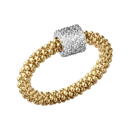 Star Dust Yellow Gold Bead Ring, , hires