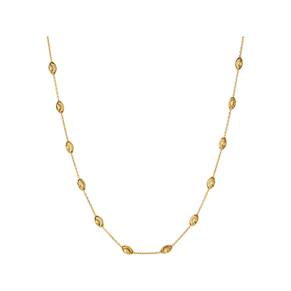 Essentials 18kt Yellow Gold Vermeil Beaded Chain Necklace 45cm, , hires