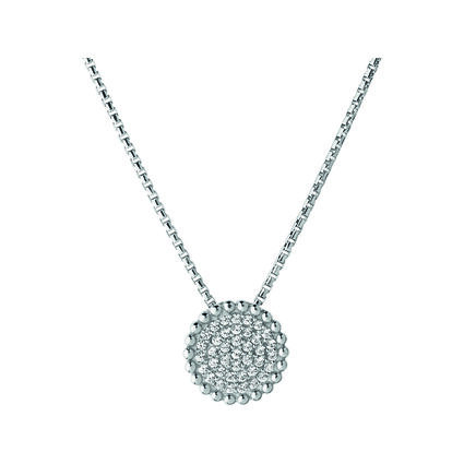 Pure Sterling Silver & White Sapphire Round Necklace, , hires