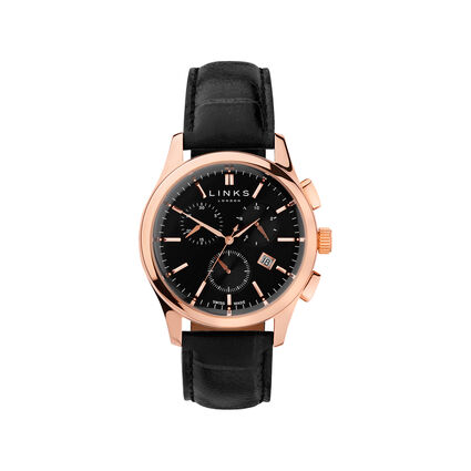 Regent Mens Black Dial Rose Gold Plate & Black Leather Chronograph Watch, , hires