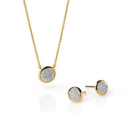 Diamond Essentials 18kt Yellow Gold Vermeil & Pave Stud Earrings and Necklace Set, , hires