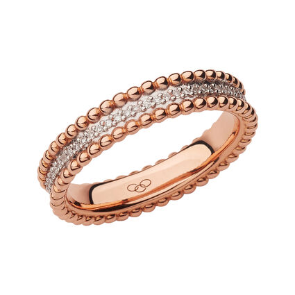 Effervescence 18kt Rose Gold & Diamond Band Ring, , hires