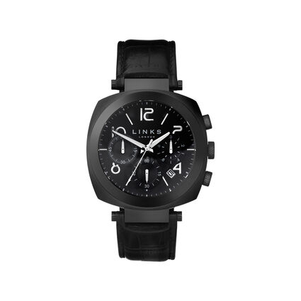 Brompton Black Stainless Steel Black Leather Chronograph Watch, , hires