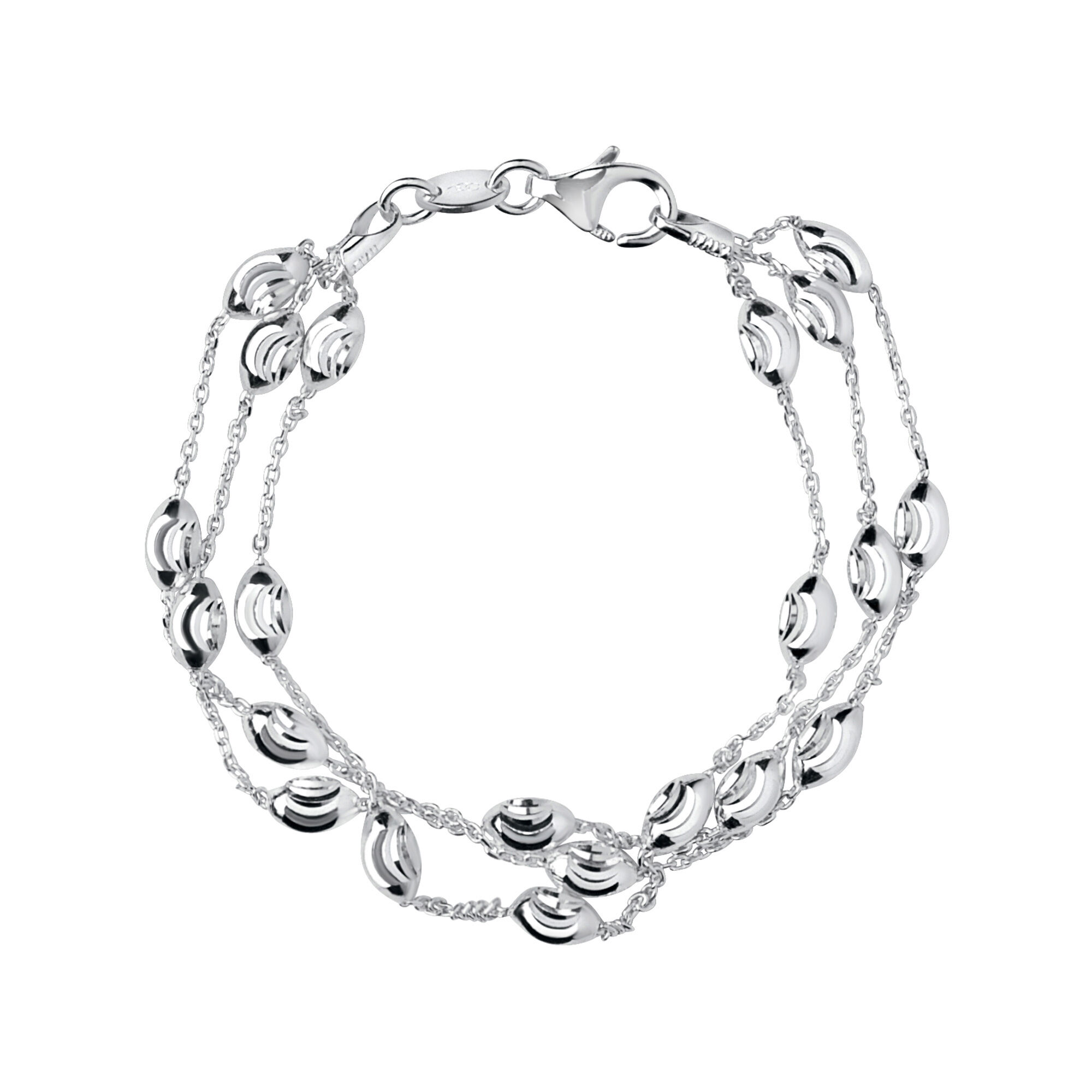 Essentials Silver Beaded Chain 3 Row Bracelet