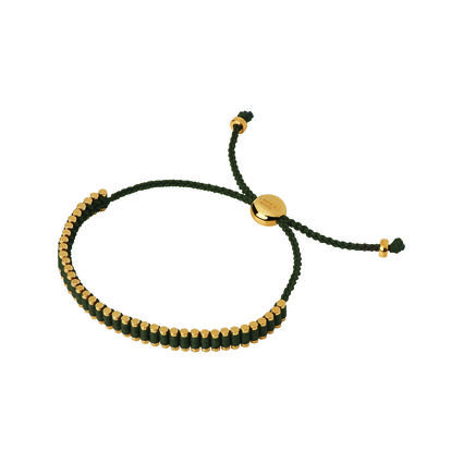 18K Yellow Gold & Khaki Cord Mini Friendship Bracelet, , hires