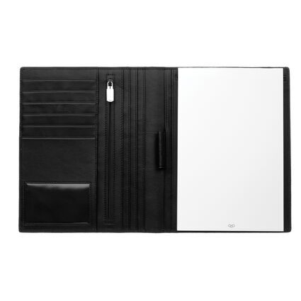 Black Leather A5 Padfolio, , hires