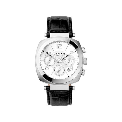 Brompton Mens Stainless Steel & Black Leather Chronograph Watch, , hires