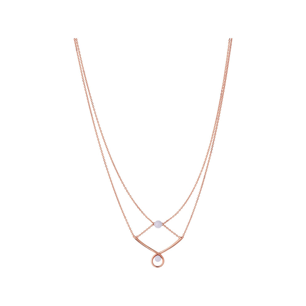 Serpentine 18kt Rose Gold Vermeil & Blue Lace Agate Gemstone Double Necklace, , hires