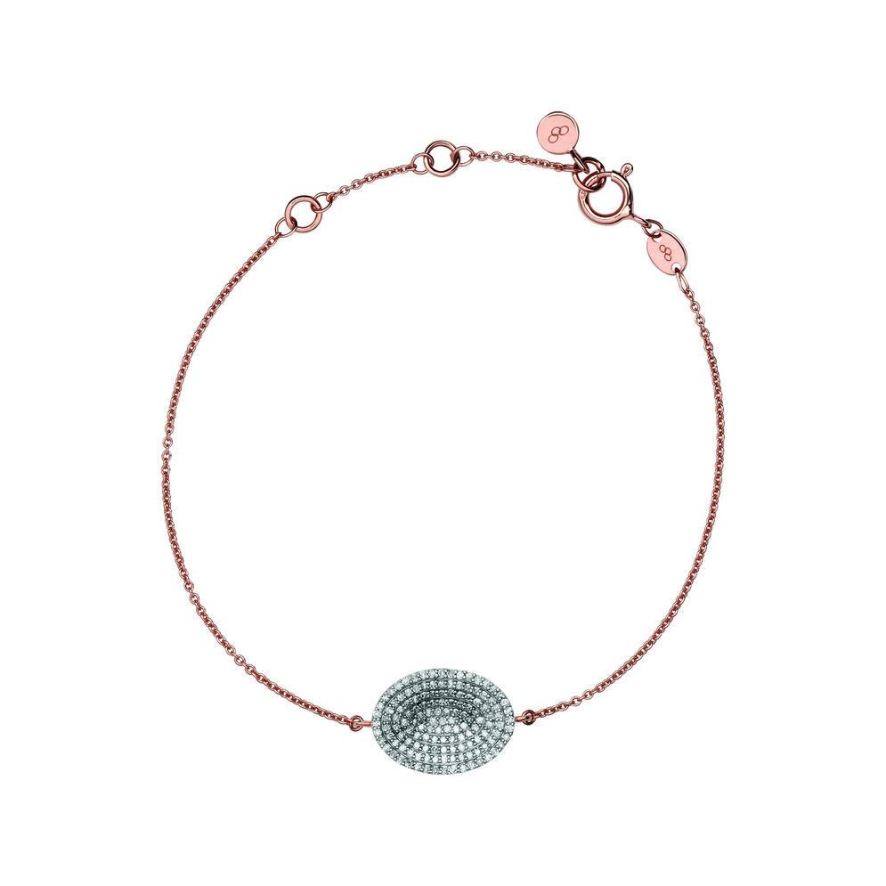 Concave 18kt Rose Gold Vermeil & Diamond Bracelet, , hires