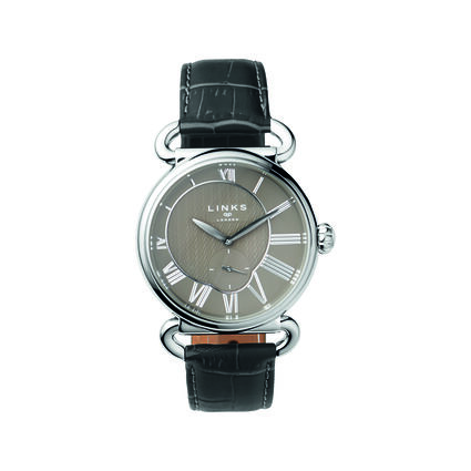 Driver British Herringbone Stainless Steel & Black Leather Watch, , hires