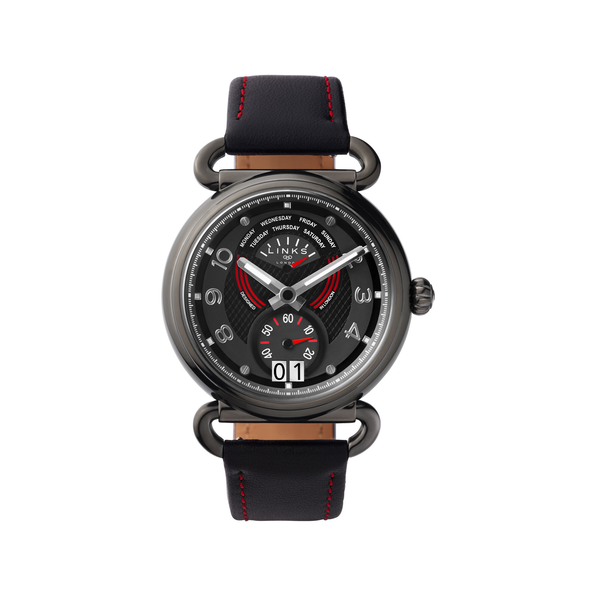 hires driver leather gb london watch watches red black and amp dashboard en links of