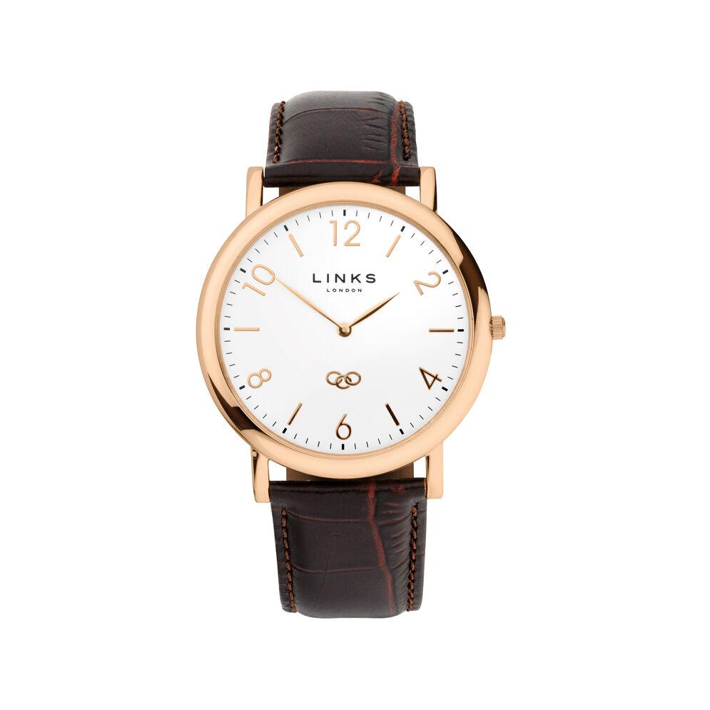 men 39 s rose gold brown leather strap watch noble. Black Bedroom Furniture Sets. Home Design Ideas