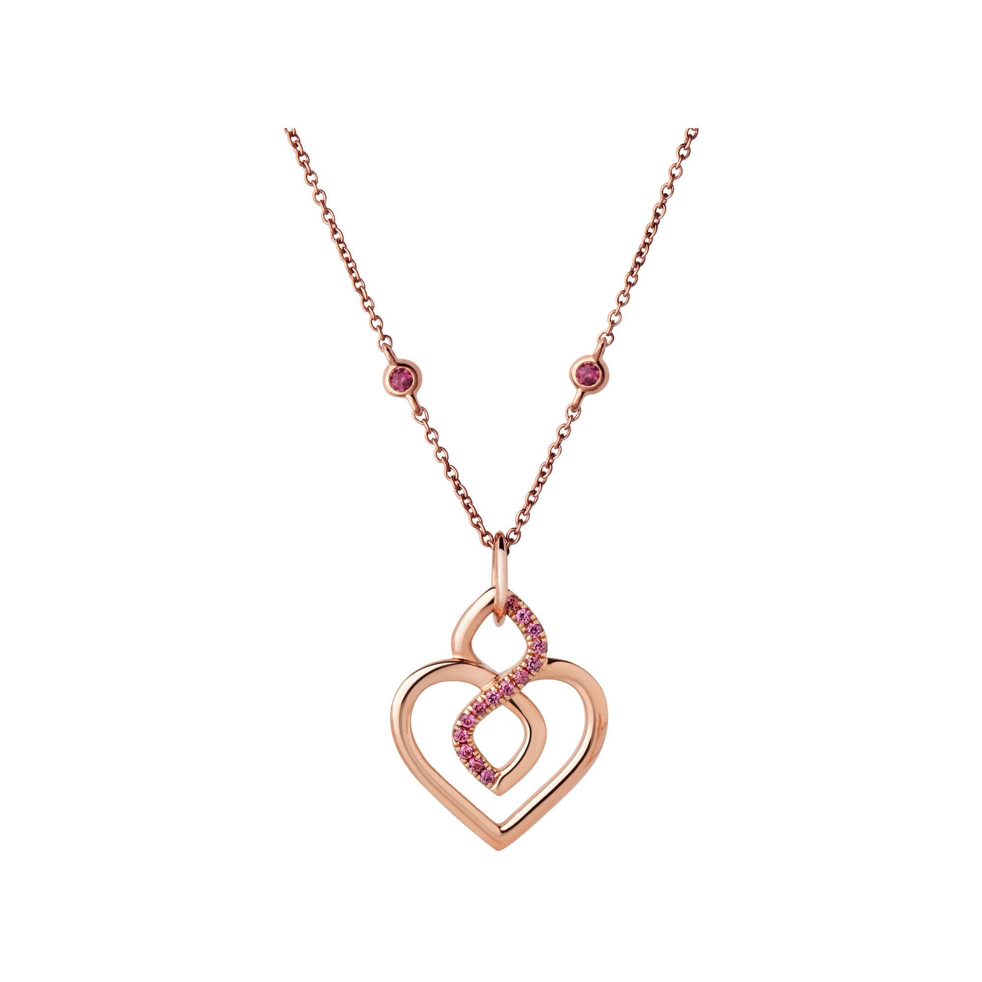 l gold necklace in pendant diamonds with rhodolite garnet rose