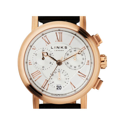 Richmond Womens Rose Gold Plated & Black Leather Chronograph Watch, , hires