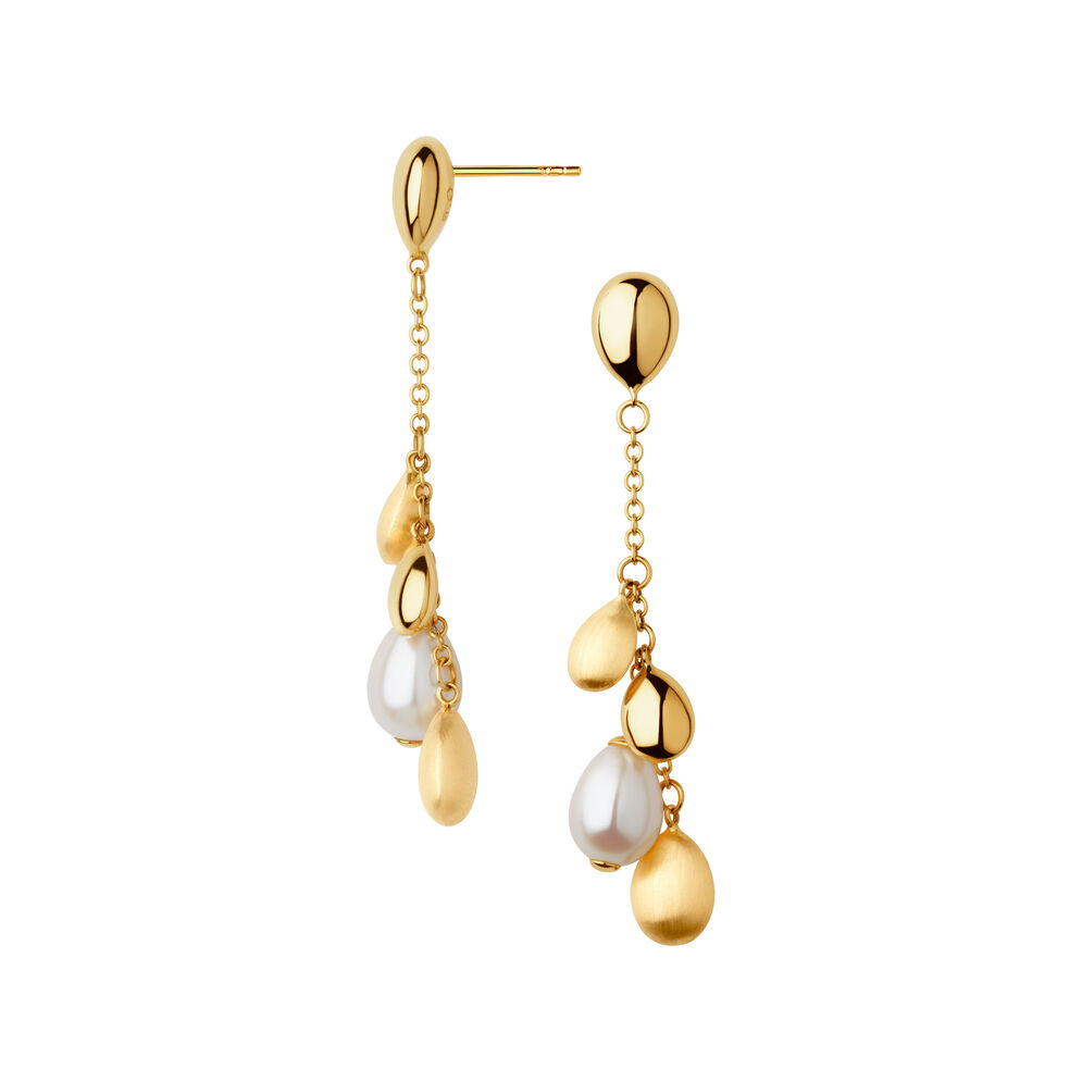 Hope 18kt Yellow Gold & Pearl Drop Earrings, , hires