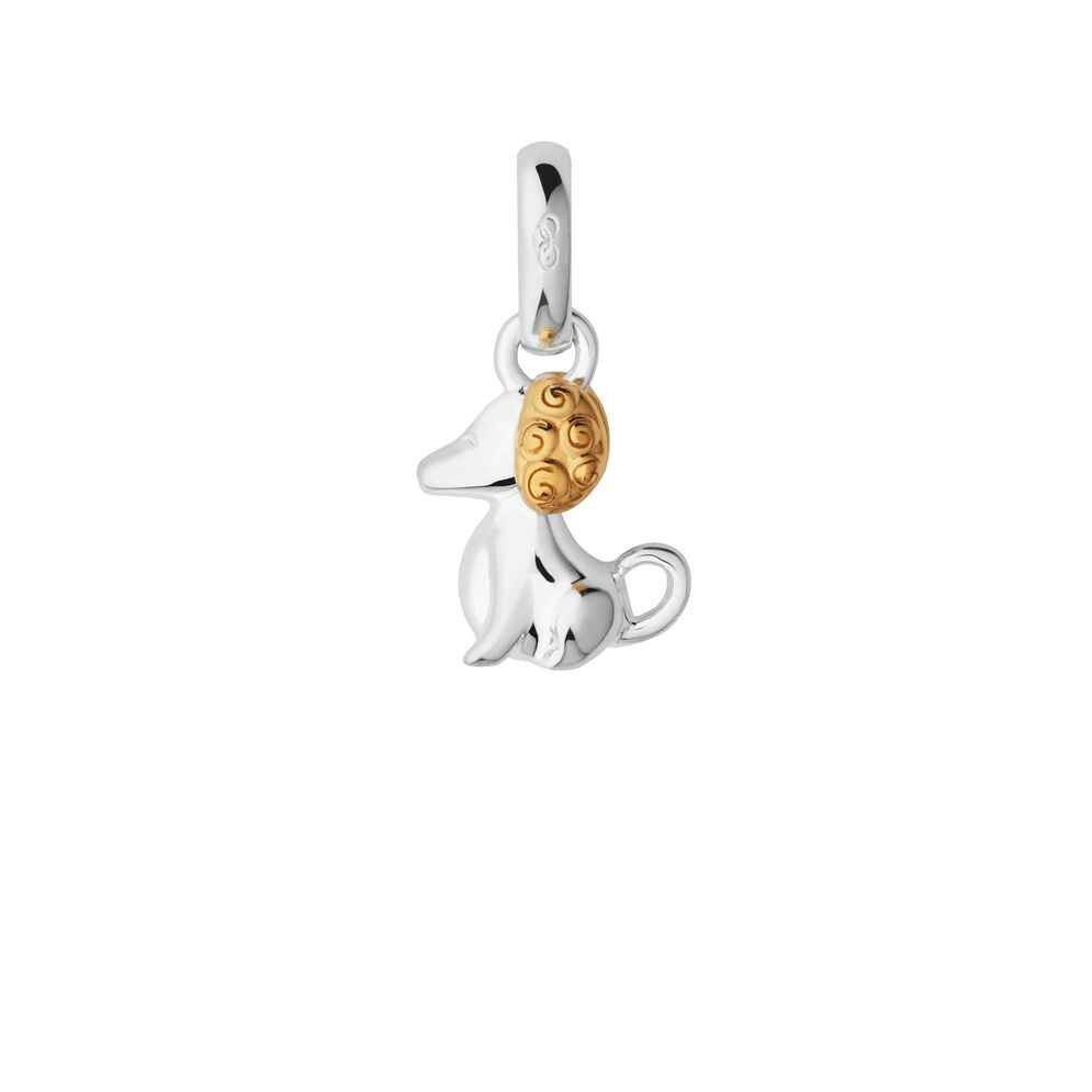 Sterling Silver & 18kt Yellow Gold Vermeil Chinese Zodiac Dog Charm, , hires