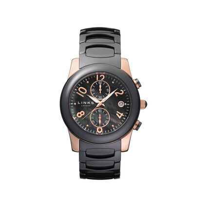 Phoebe Womens Black Ceramic and Rose Gold Plate Watch, , hires
