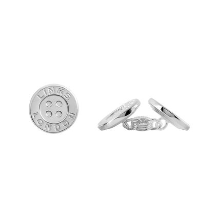 Sterling Silver Button Chainlink Cufflinks, , hires