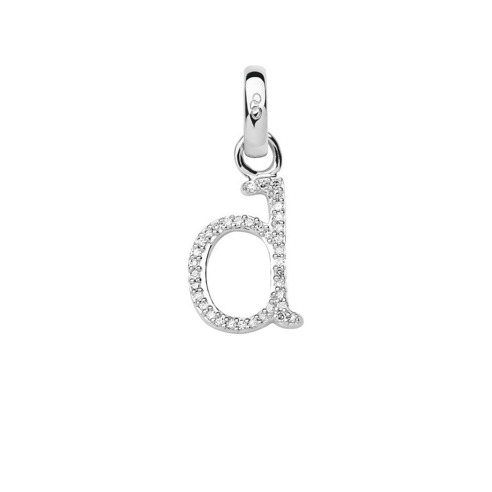 Sterling Silver & Diamond D Alphabet Charm, , hires