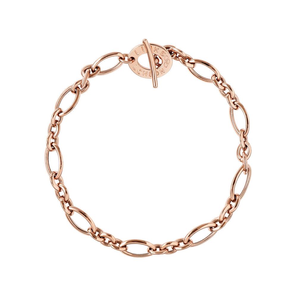 18kt Rose Gold T Bar Charm Bracelet Hires