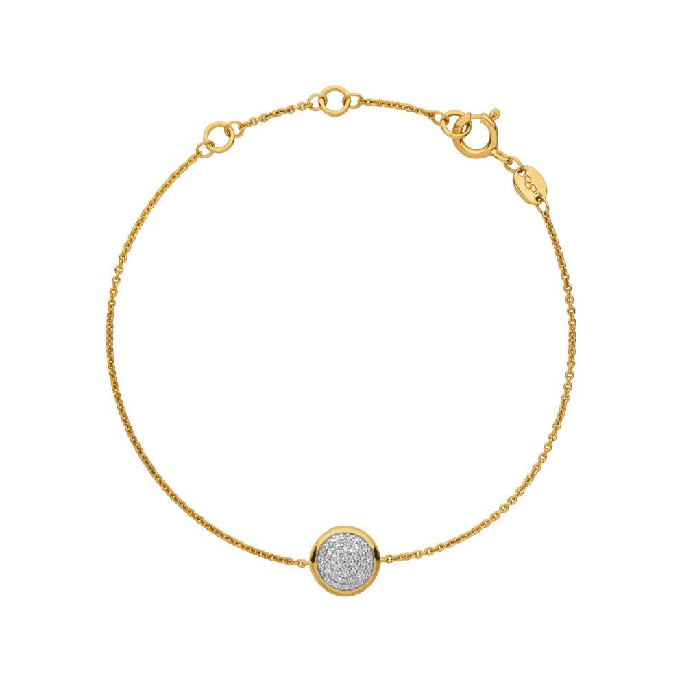 Diamond Essentials 18kt Yellow Gold Vermeil & Pave Round Bracelet, , hires