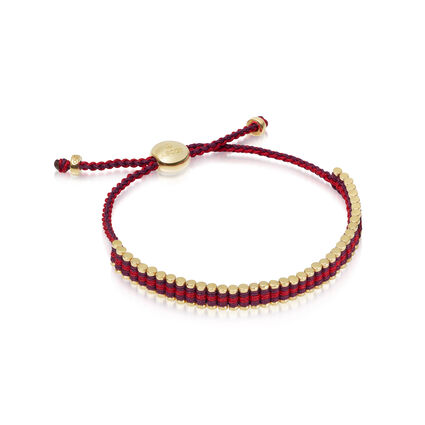 Ascot 18kt Yellow Gold Vermeil, Red & Purple Cord Mini Friendship Bracelet, , hires