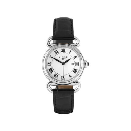 Driver Womens Round Stainless Steel Black Leather Watch, , hires