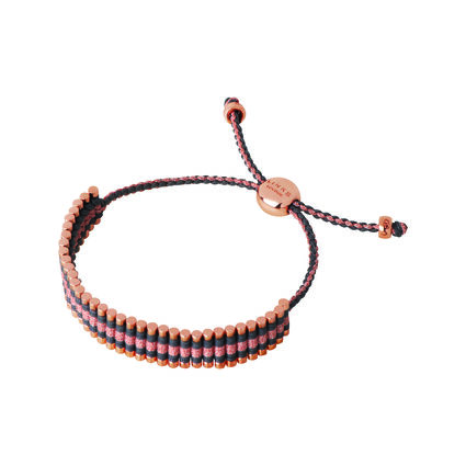 18kt Rose Gold Vermeil, Grey & Copper Glitter Cord Friendship Bracelet, , hires