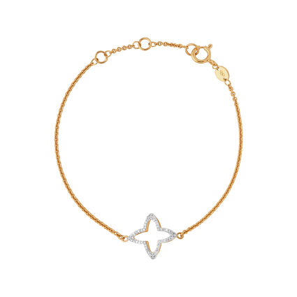 Splendour 18kt Yellow Gold Vermeil & Diamond Open Four-Point Star Bracelet, , hires
