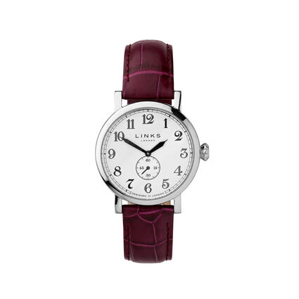 Greenwich Womens Stainless Steel & Purple Leather Watch, , hires