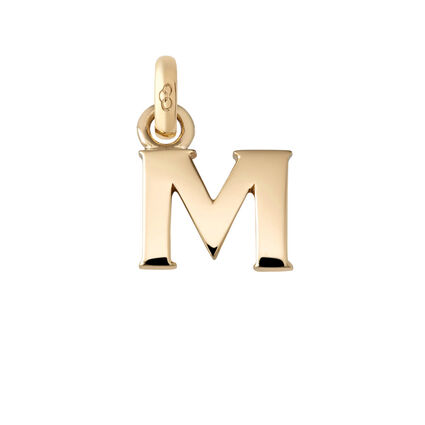 18kt Yellow Gold M Charm, , hires