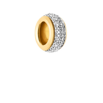 Sweetie 18K Yellow Gold Vermeil & White Diamond Pave Rondelle Bead, , hires