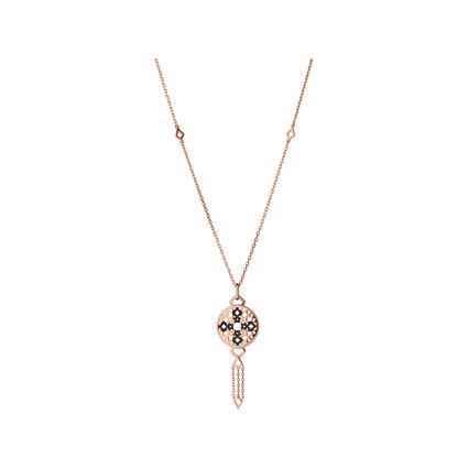Timeless 18kt Rose Gold Vermeil & Black Sapphire Drop Necklace, , hires