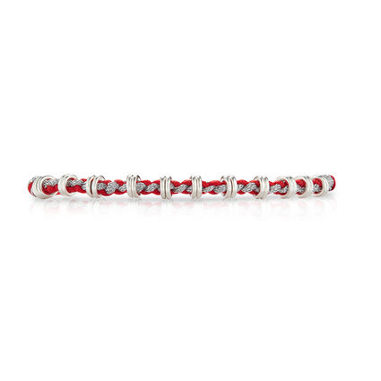 Silver and Red Sweetie Love Knot Cord Bracelet, , hires
