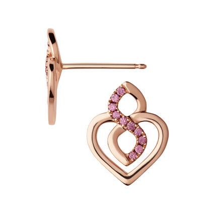 18K Rose Gold & Rhodolite Garnet Infinite Love Earrings, , hires